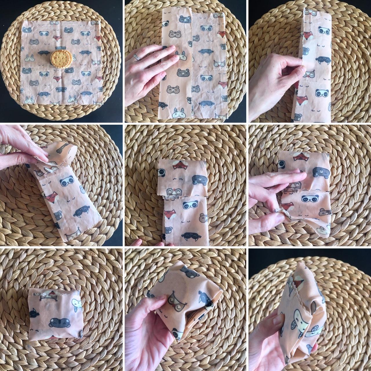 confectionner une pochette avec un wrap M carré Slow&CO
